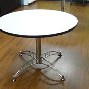 "OFM 42"" Round Table, Grey Nebula Top with Chrome Base"