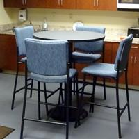- Global Total Office Diplomat stools - black frames w/Blue Ribbon fabric.