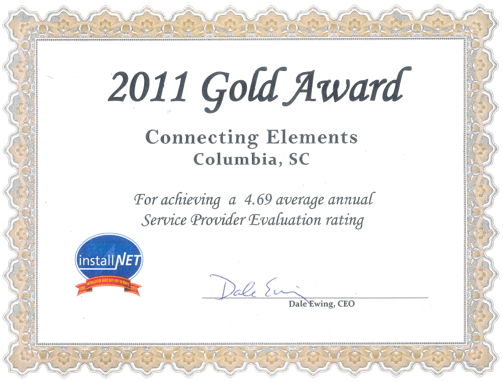 Installnet Gold Award 2010 Connecting Elements