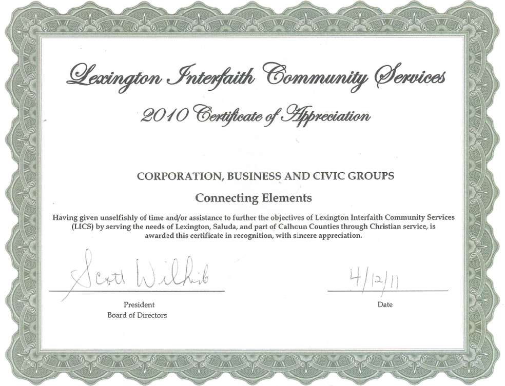 Lexington Interfaith Community Award - Certificate of Appreciation 2010