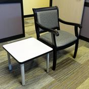 Avenue Side Chair in Time Steel Fabric with Black Frame, Laminate End Table with Grey Top and Silver Legs